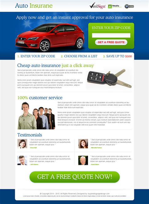 Instant Car Insurance Quote by Auto Insurance Landing Page Designs To Improve Your Conversion