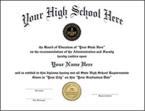 High School Diploma Diploma Replacements High School Diploma Template With Seal