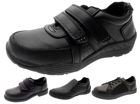 school shoe boys black leather school shoes lace up slip on