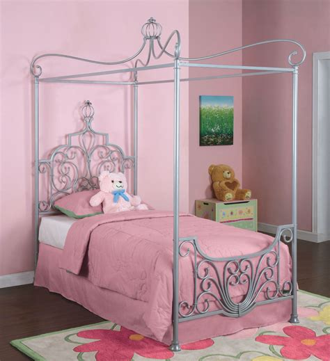 twin canopy bed powell princess rebecca sparkle silver canopy twin size bed beyond stores