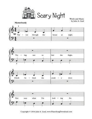 creepy violin music scary night halloween song for piano free printable