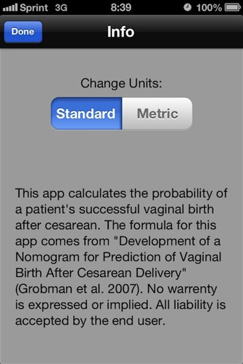 chances of normal delivery after c section vbac calculator iphone and ipad medical app review