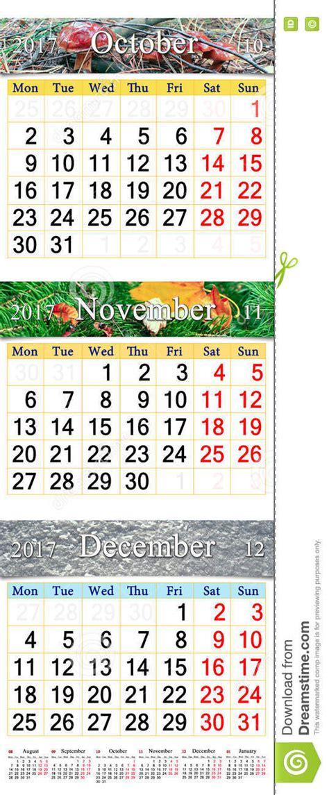 Calendrier Octobre Et Novembre 2017 Calendrier Pendant Octobre Novembre Et D 233 Cembre 2017 Avec