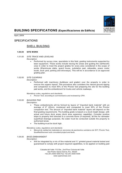Specification of works template