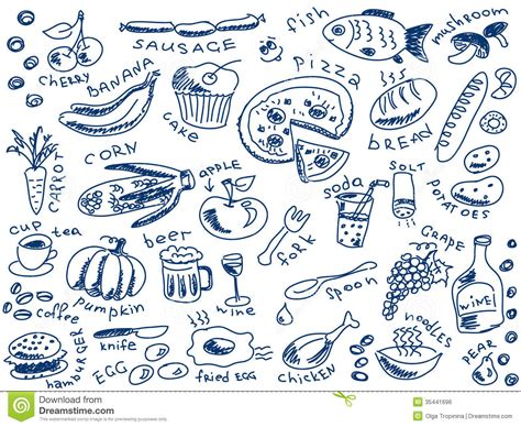 doodle food vector free food doodles stock vector image of banana food knife