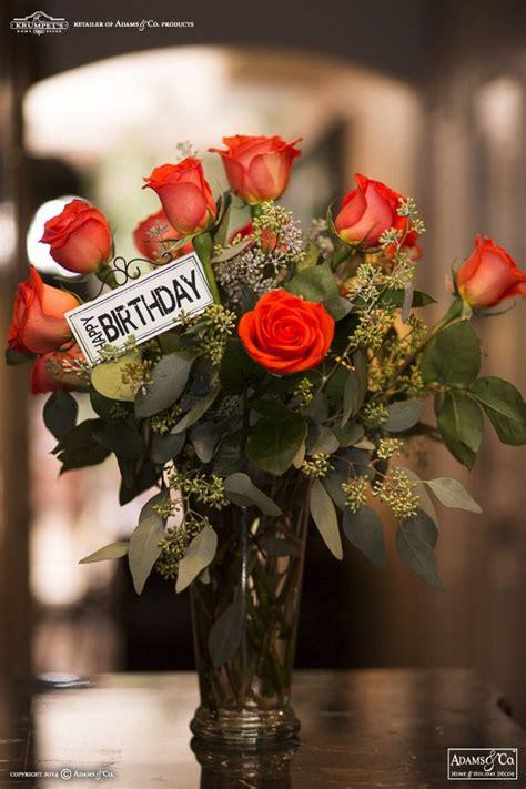 happy birthday metal pick sign flower arrangement