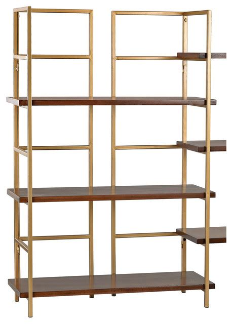 balart gold and walnut shelf unit contemporary display