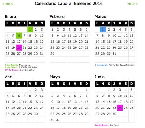 calendario curso 2016 2017 baleares calendario laboral 2016 islas baleares blog de opcionis