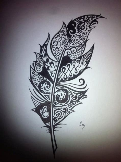 white feather tattoo designs custom ink drawing black white commissioned artwork