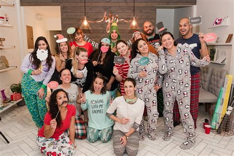 ideas for funny christmas pajama party in pajamas kristy vic photography