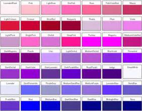 different color 8 best images of shades of purple names chart