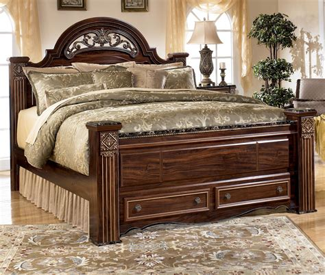 ashley poster bed ashley signature design gabriela traditional queen poster