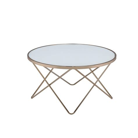 frosted glass coffee table acme furniture valora frosted glass and chagne coffee