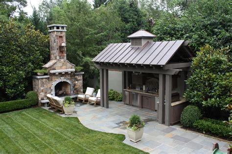 Kitchen Patio Ideas Outdoor Kitchen And Fireplace Traditional Patio