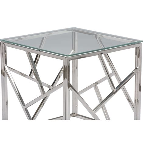 Glass Side Table Aero Chrome Glass Side Table Modern Furniture Brickell Collection