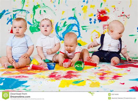 3d House Plans Free babies playing with paints royalty free stock photos