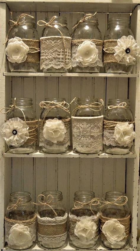 Bridal Shower, Wedding Centerpieces, Burlap Mason Jars, No