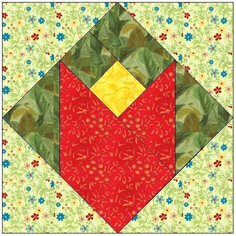 Tulip Quilt Pattern Block by All Stitches Tulip Paper Piecing Quilt Block