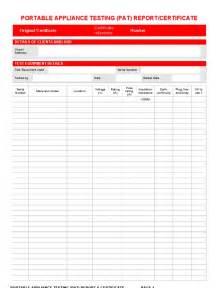 Pat Testing Record Sheet Template pat testing certificate