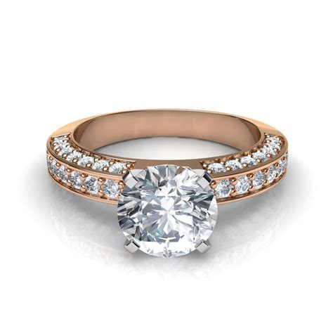 pave rings three sided pave diamonds engagement ring
