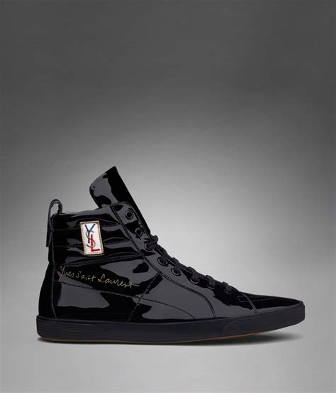 ysl mens sneakers classic high top sneaker in black patent leather yves