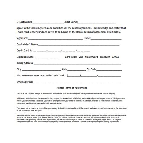 generic rental agreement template sle generic rental agreement 7 documents in pdf word