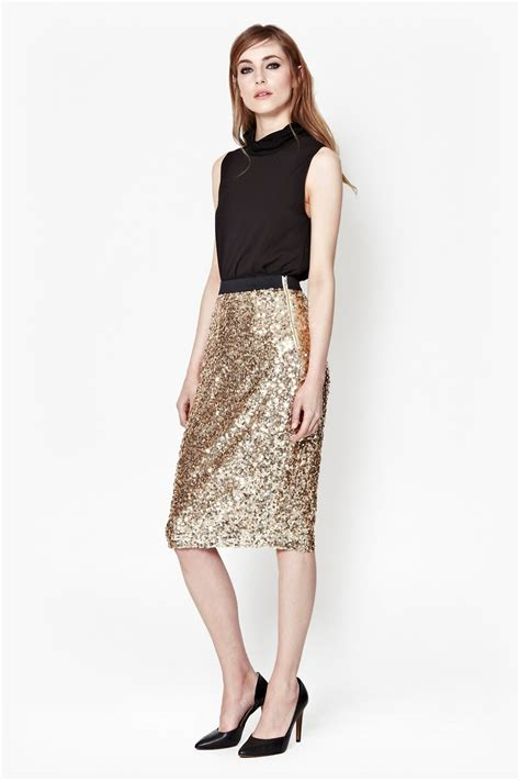 connection lunar sparkle sequin pencil skirt in