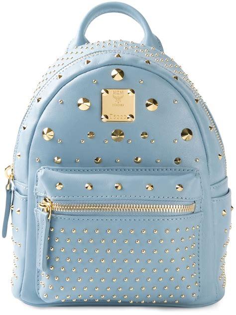 mcm mini bebe boo backpack in blue lyst