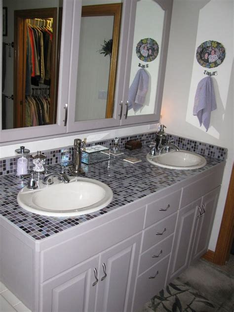 Tile Bathroom Countertops by Kid S Bathroom Uses A Top Sink Mosaic Glass Tile