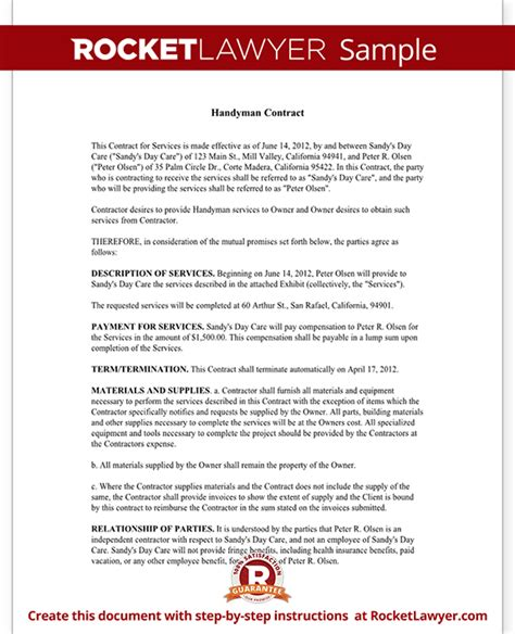 Handyman Contract Agreement Form Template With Sle Handyman Agreement Template