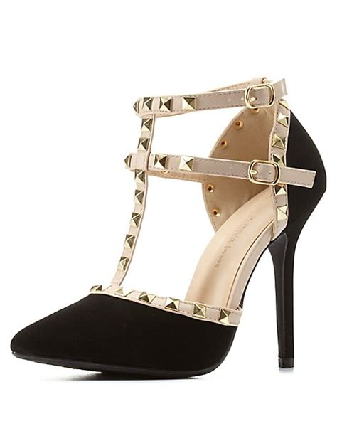 Studded Strappy Pointy Pumps studded strappy pointed toe pumps russe