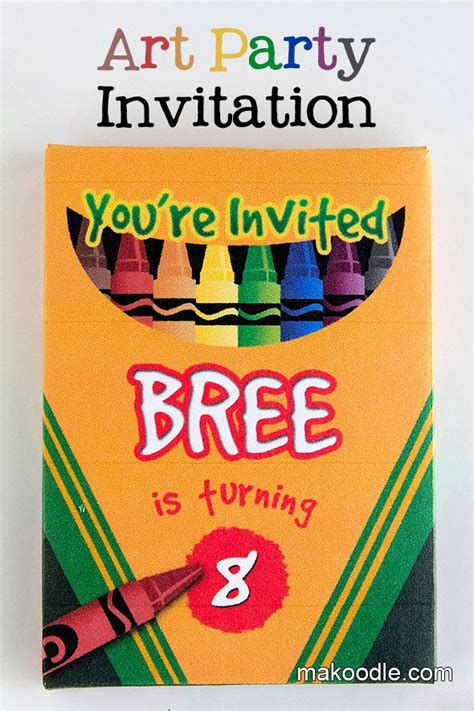 Learn How To Make A Crayon Box Art Birthday Party Crayon Invitation Template