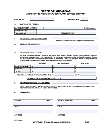 9 Contract Amendment Templates Sle Templates Employment Contract Amendment Template