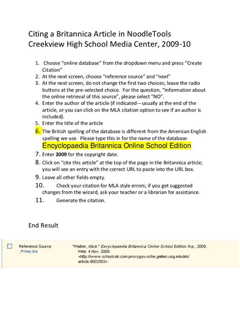 how to cite a britannica article in noodletools