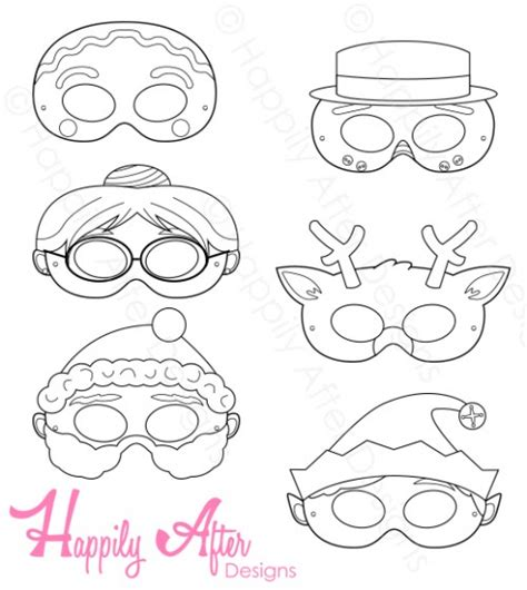 printable christmas masks christmas printable coloring masks