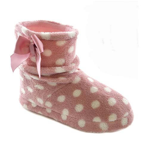 house boot slippers womens polka dot fleece slouch indoor house slipper