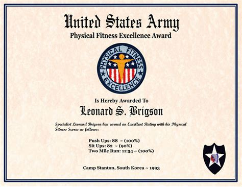 army physical fitness badge certificate motorcycle