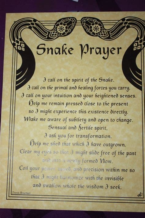 wiccan prayer snake prayer parchment poster wicca hoo doo pagan