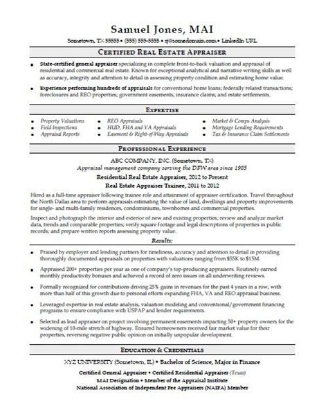 Real Estate Resume Templates by Real Estate Resume Sle