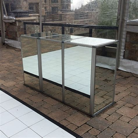 Mirrored Bar Silver Frame Mirrored Bar All Out Event Rental