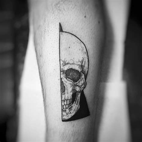 small head tattoos geometric skull dotwork