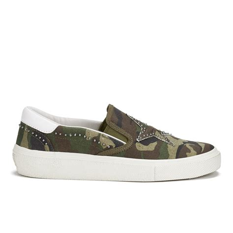 ash s canvas slip on trainers army white