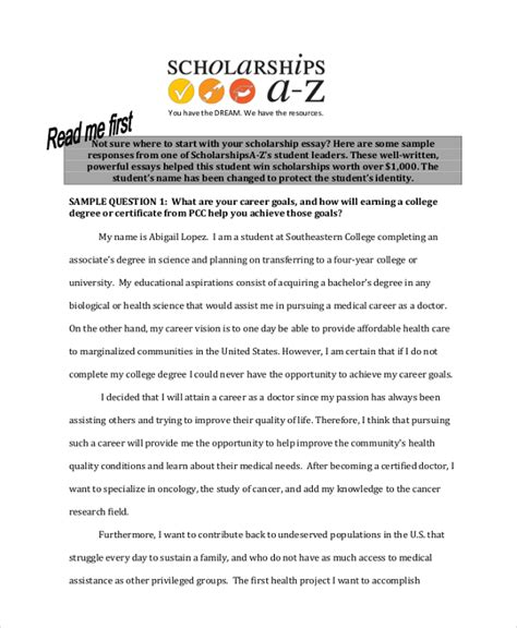 Scholarship Essay Template by 9 Scholarship Essay Exles Free Premium Templates
