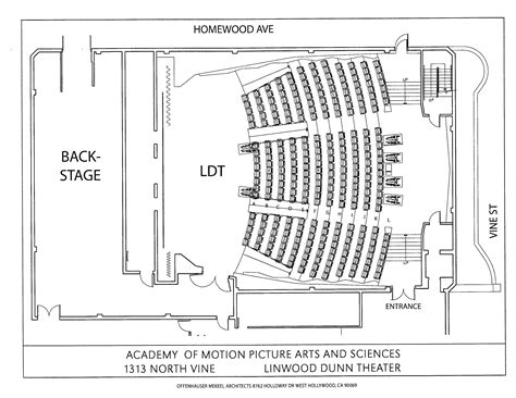 cinema floor plans linwood dunn theater oscars org academy of motion