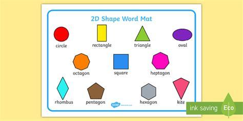 Shape 2 D 2d shape word mat word mat writing aid 2d shape names