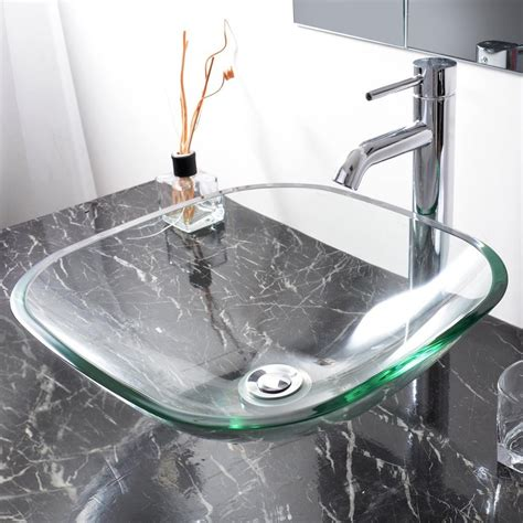 glass bowl sink with vanity modern square tempered glass vessel sink bathroom vanity