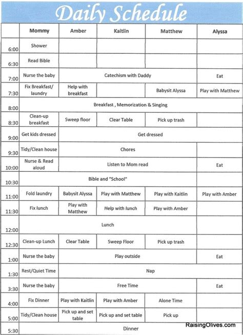 template of schedule daily routine schedule template fee schedule template