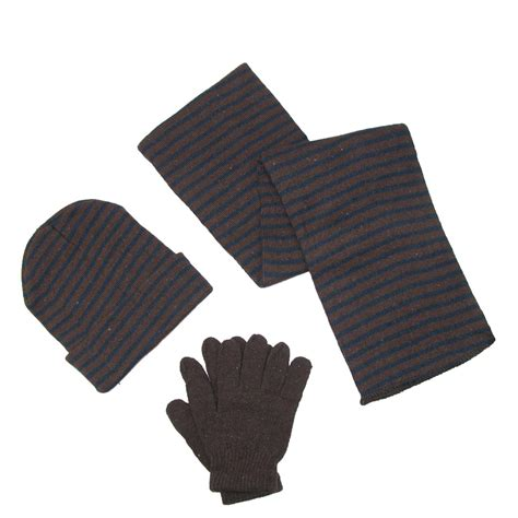 mens knit striped hat gloves and scarf winter set by ctm 174 scarves sets s cold weather