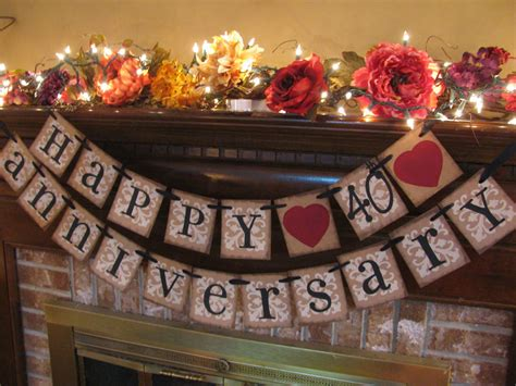 Ruby wedding anniversary 40th banner sign by inspirationalbanners