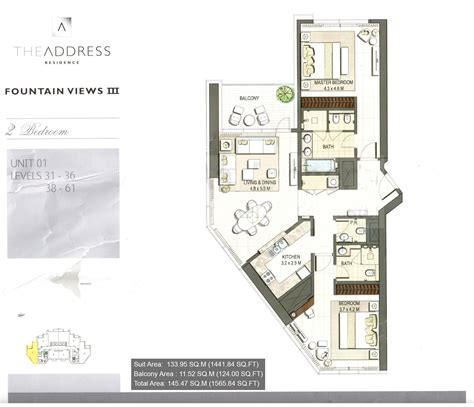 the address residence floor plans downtown dubai